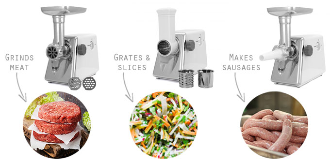 KuKoo Electric meat grinder, ideal for grinding meat, stuffing sausages, and grating and slicing vegetables